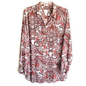 Chico's Paisley Button Down Top